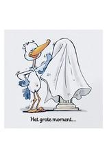 Belarto Welcome Wonder 2017 Geboortekaart in cartoonstijl met grappige illustratie van ooievaar (717055)