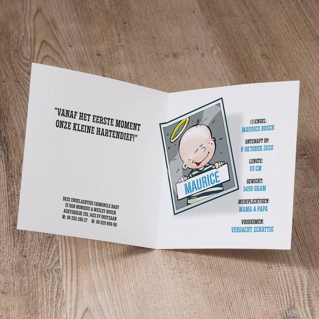 Belarto Welcome Wonder 2017 Geboortekaart met humoristisch babyboefje (717054)