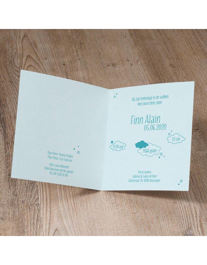 Belarto Welcome Wonder 2017 Geboortekaart met ooievaar in suede inkt, hartje en wolkje (717050)