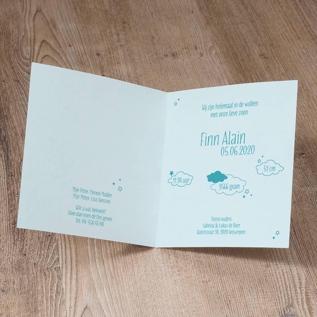 Belarto Welcome Wonder Geboortekaart met ooievaar in suede inkt, hartje en wolkje (717050)