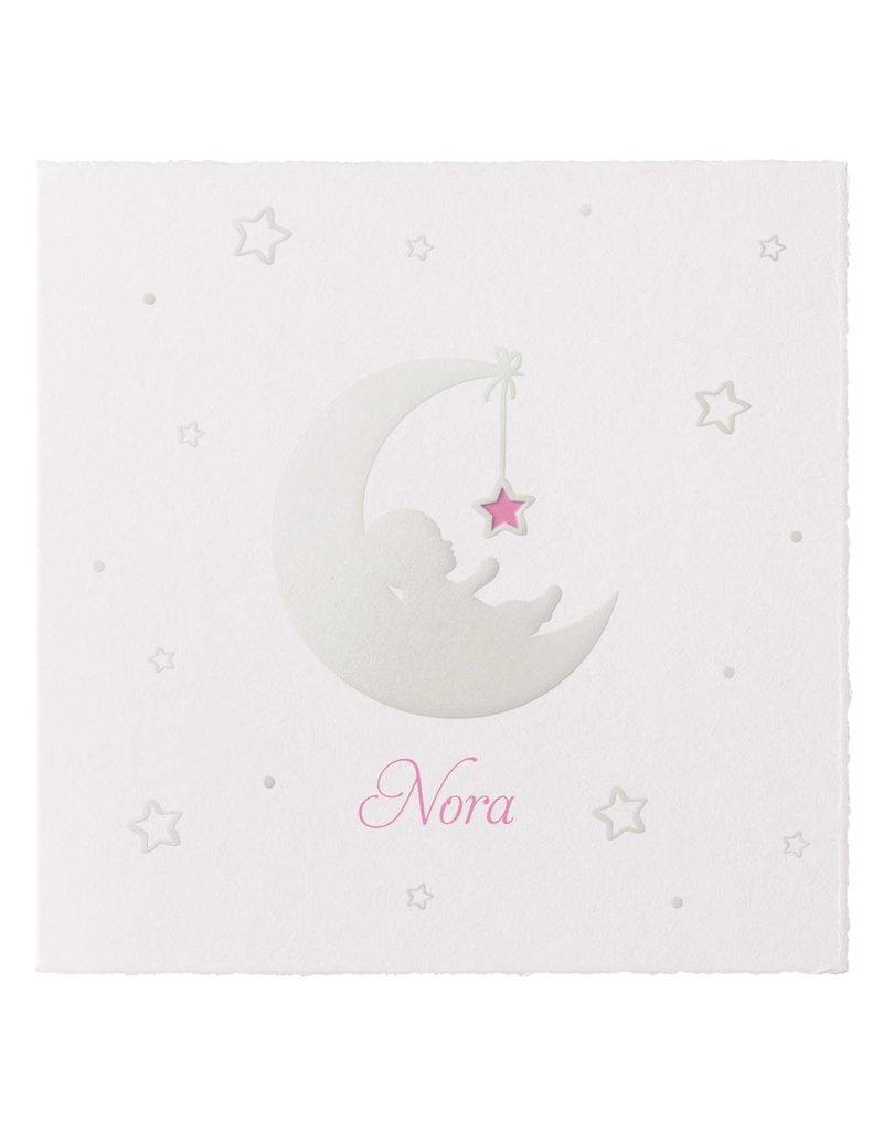 Belarto Welcome Wonder 2017 Geboortekaart met baby op de maan roze op geschept papier(717046R)