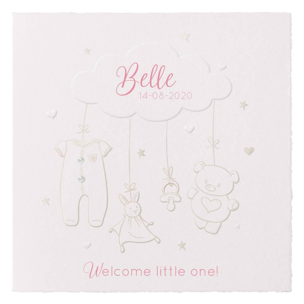 Belarto Welcome Wonder Geboortekaart met voelbare illustratie op geschept papier(717045B)