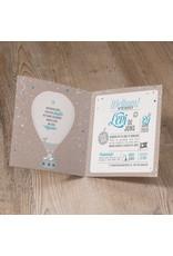 Belarto Welcome Wonder 2017 Geboortekaart met stoere luchtballon en blauw/wit touwtje (717044)
