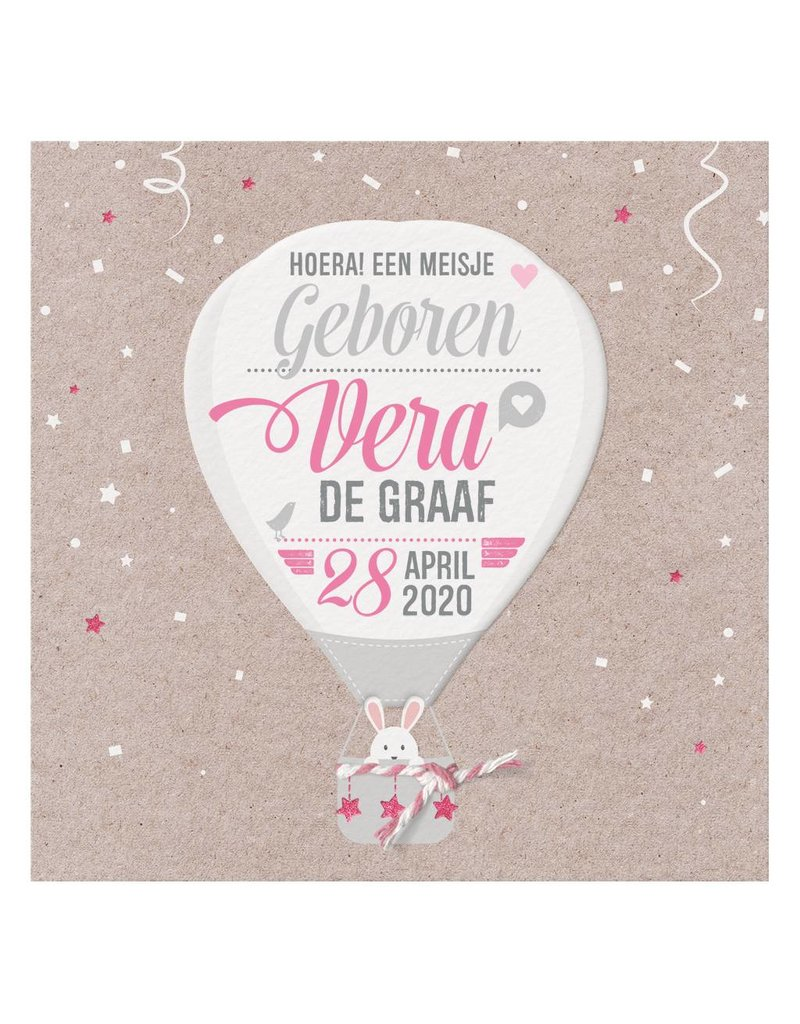 Belarto Welcome Wonder 2017 Geboortekaart met stoere luchtballon en roze/wit touwtje (717043)