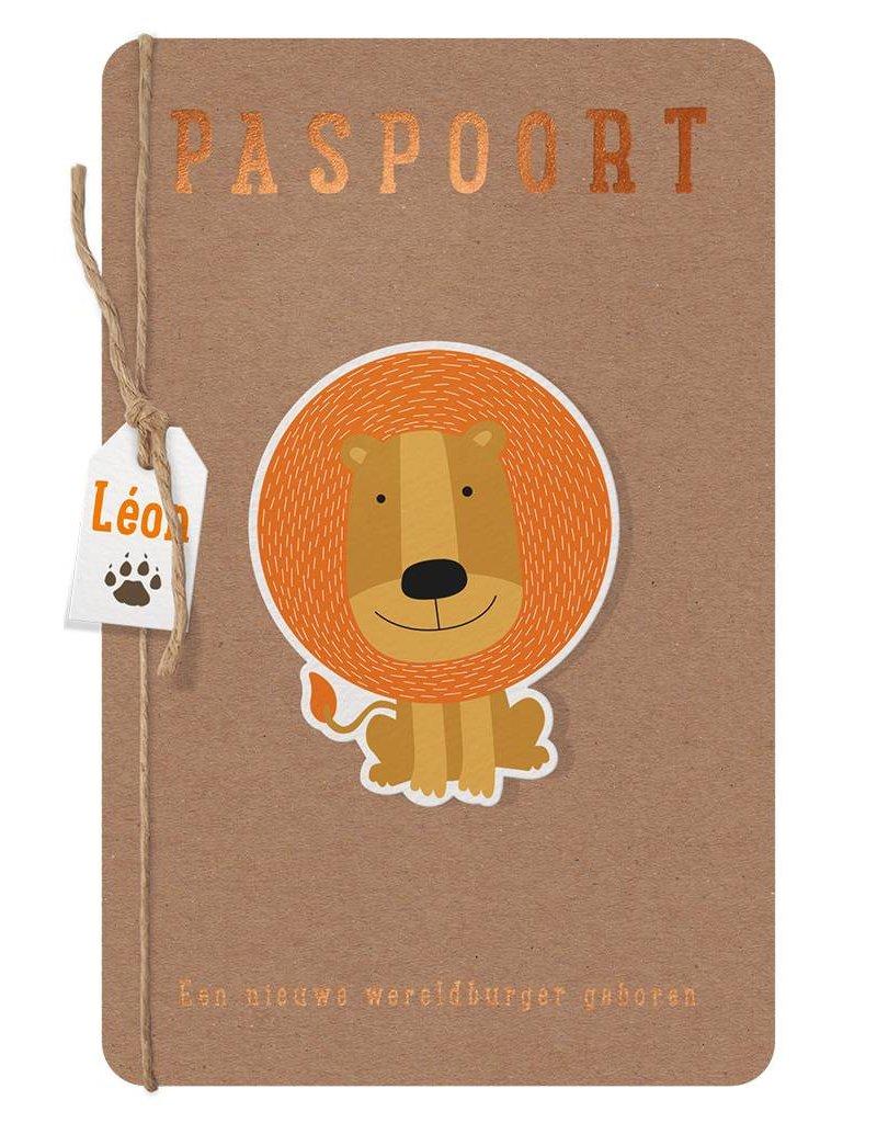 Belarto Welcome Wonder 2017 Geboortekaart als paspoort met diertjes en labeltje (717041)