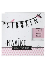 Belarto Welcome Wonder 2017 Geboortekaart in roze drieluik met zwarte illustraties (717008)