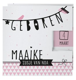 Belarto Welcome Wonder 2017 Geboortekaart in roze drieluik met zwarte illustraties