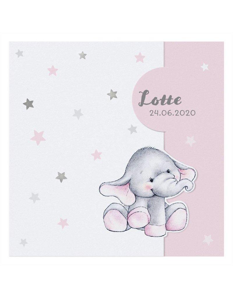 Belarto Welcome Wonder 2017 Geboortekaart met  olifantje onder zilveren sterren (717010)