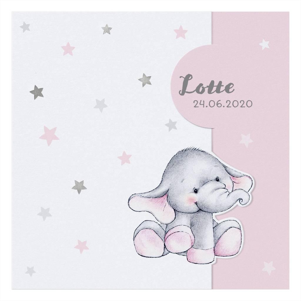 Belarto Welcome Wonder Geboortekaart met  olifantje onder zilveren sterren (717010)