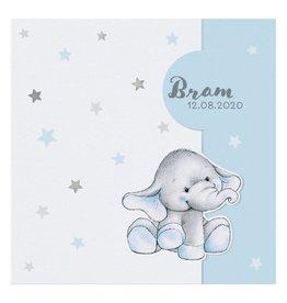 Belarto Welcome Wonder 2017 Geboortekaart met olifantje onder zilveren sterren