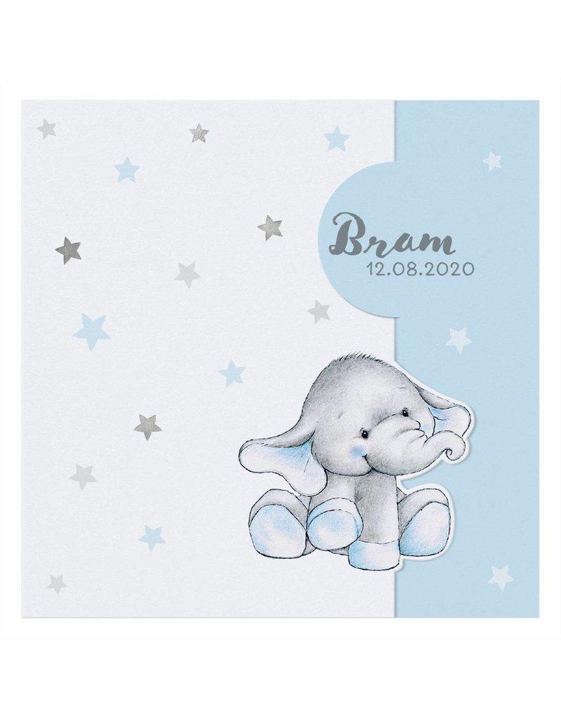 Belarto Welcome Wonder 2017 Geboortekaart met olifantje onder zilveren sterren (717011)
