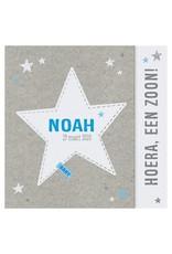 Belarto Welcome Wonder Geboortekaart met voetjes en zilveren sterretjes voor jongetje (717013)