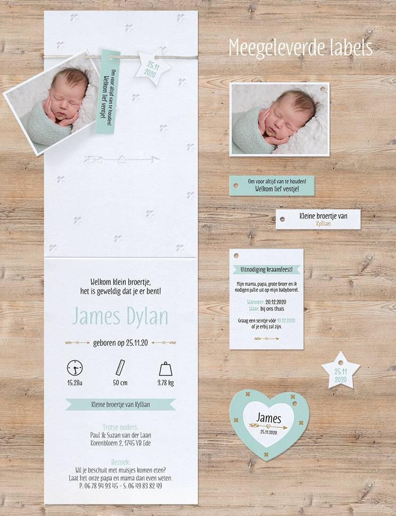 Belarto Welcome Wonder Geboortekaart met babyfoto, hip touw en labels (717034)