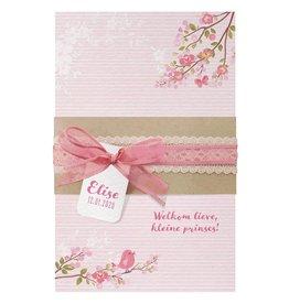Belarto Welcome Wonder Geboortekaart met romantisch wikkel, lint en labeltje(s)