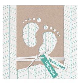 Belarto Welcome Wonder 2017 Geboortekaart met voetjes in modern kraft papier