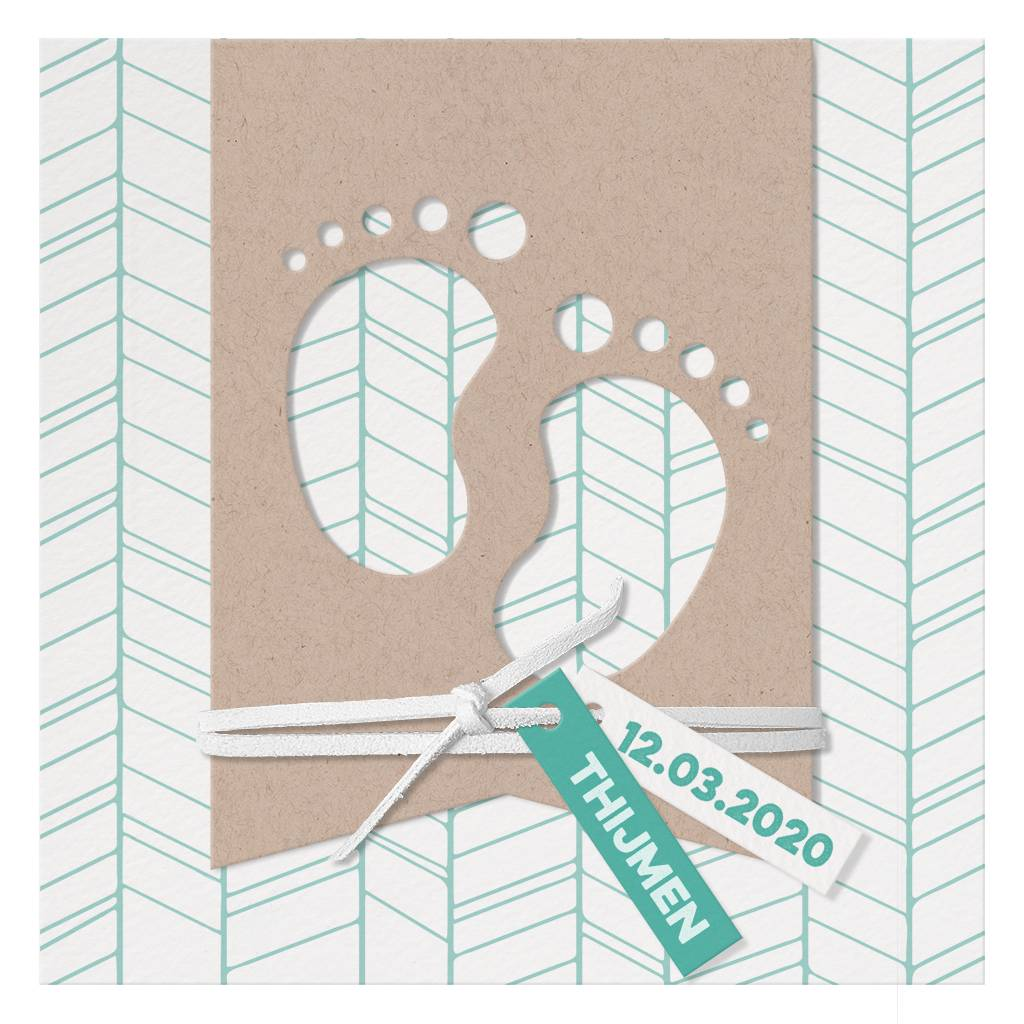 Belarto Welcome Wonder 2017 Geboortekaart met  voetjes in modern kraft papier (717033)