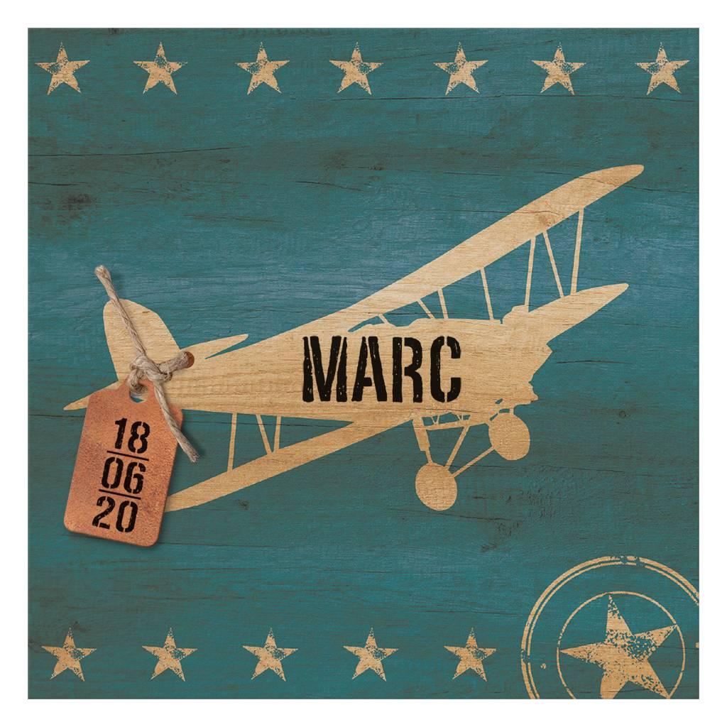 Belarto Welcome Wonder Geboortekaart met retro vliegtuig en stoer labeltje (717038)