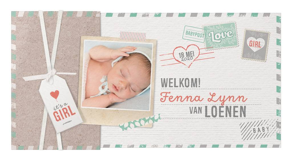 Belarto Welcome Wonder 2017 Geboortekaart in hoesje met labels en (eigen) foto (717025)