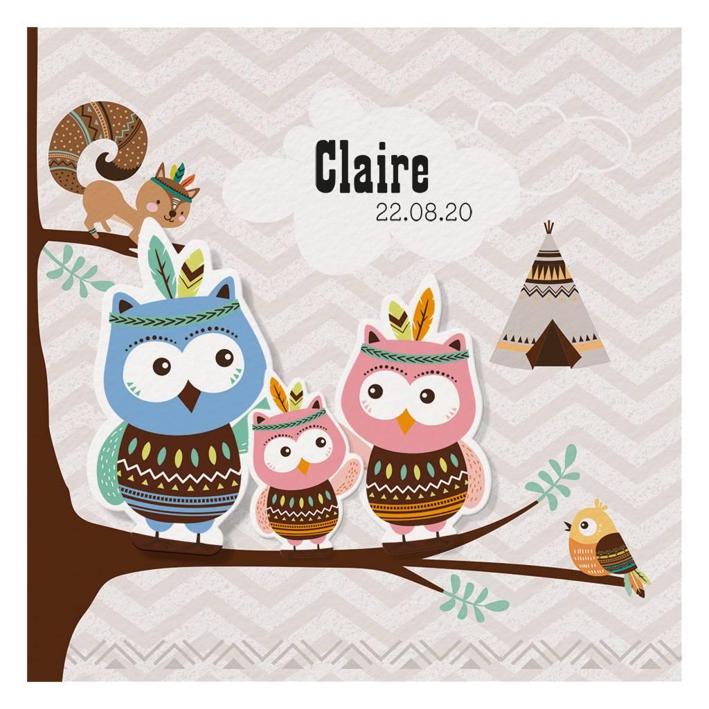 Belarto Welcome Wonder Geboortekaart in drieklap met uiltjes in indianenstijl (717015)