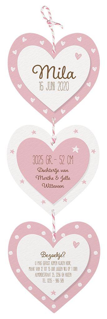 Belarto Welcome Wonder 2017 Geboortekaart met lief hangertje van 3 hartjes met roze/wit touwtje (717019)
