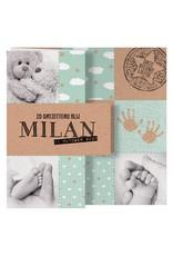 Belarto Welcome Wonder Geboortekaart met uitvouwkaart in kraftlook - mint (717023)