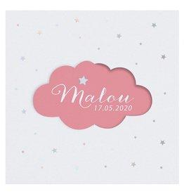 Belarto Welcome Wonder 2017 Geboortekaart met schattig draaiwolkje - roze
