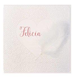 Belarto Welcome Wonder Geboortekaart met fluffy veertje en lieflijk pareltje