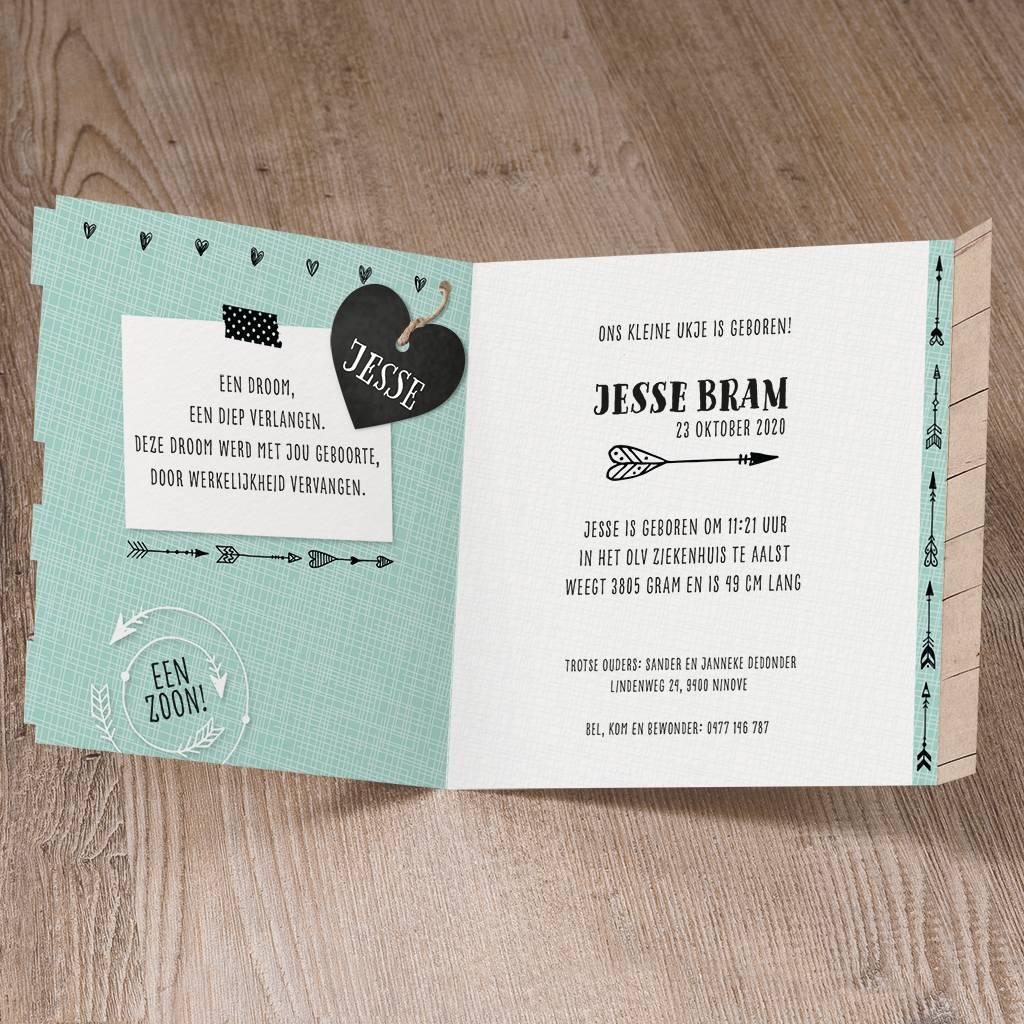 Belarto Welcome Wonder 2017 Geboortekaart met steigerhout en stoer label (717001)