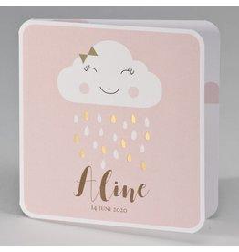 Buromac Pirouette Geboortekaart met gouden regendruppels - roze