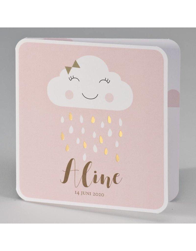 Buromac Pirouette Geboortekaart met vrolijk wolkje met gouden regendruppels - roze (507027)