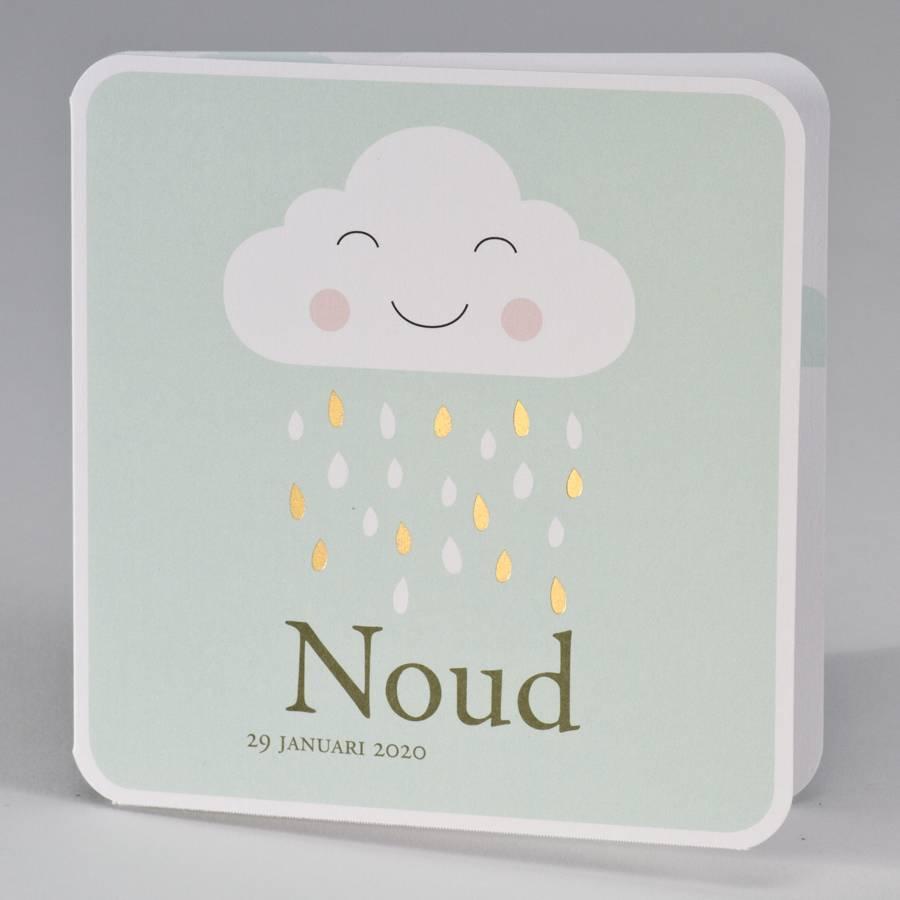 Buromac Pirouette Geboortekaart met vrolijk wolkje met gouden regendruppels - mint (507026)