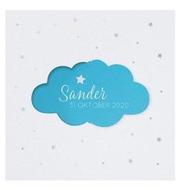 Belarto Welcome Wonder Geboortekaart met schattig draaiwolkje - blauw
