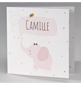 Buromac Pirouette Geboortekaart met roze olifantje
