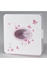 Buromac Pirouette Geboortekaart roze vlinders en bloemetjes (507108)