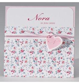 Buromac Pirouette Geboortekaart in pochette met bloemenprint