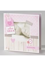 Buromac Pirouette Geboortekaart met voetjes en roze label (505040)