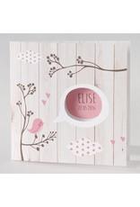Buromac Pirouette Geboortekaart met roze vogeltjes en steigerhout (505015)
