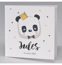 Buromac Pirouette Geboortekaart met panda en gouden kroon