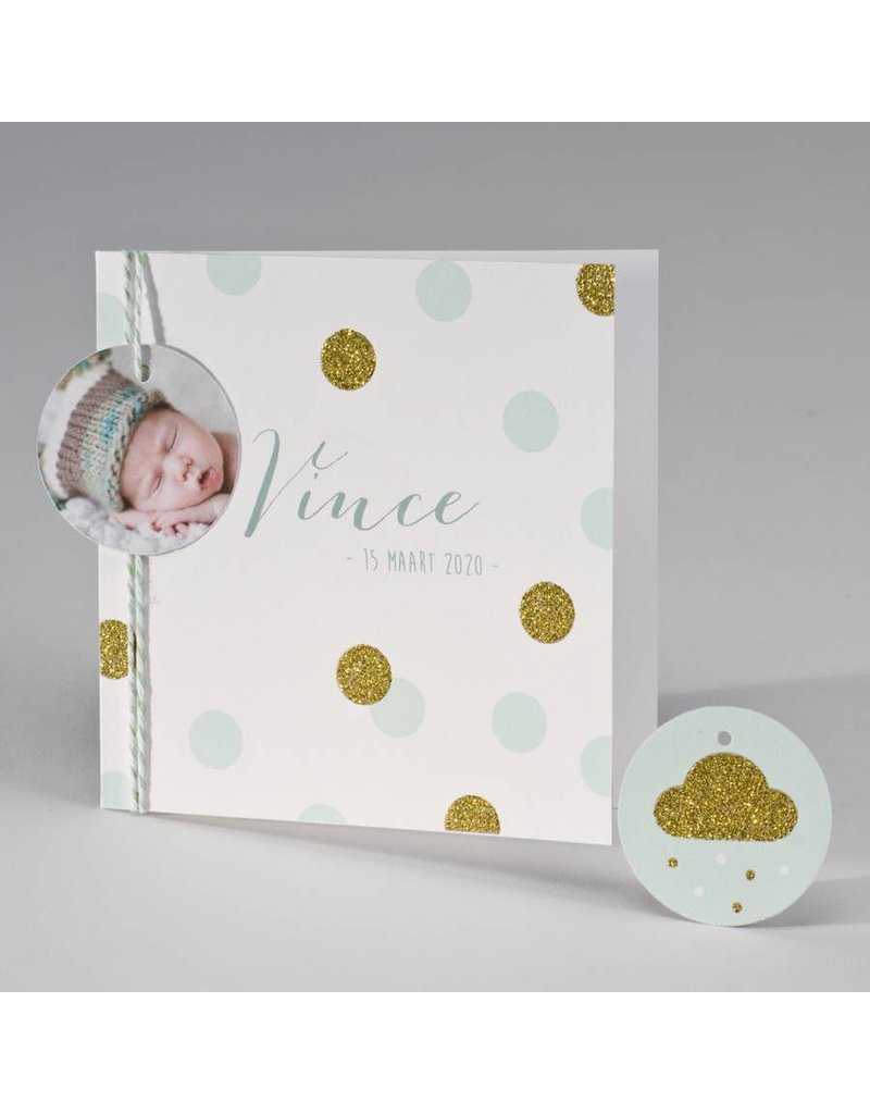 Buromac Pirouette Geboortekaart met glitterconfetti - mint (507045)
