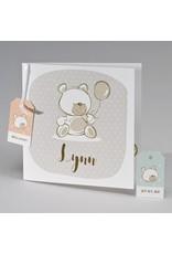 Buromac Pirouette Geboortekaart met beige beer en gekleurde labels (507135)