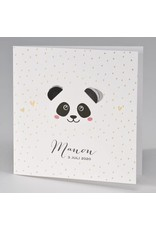 Buromac Pirouette Geboortekaart met panda met uitgekapte oortjes en goudconfetti (507009)
