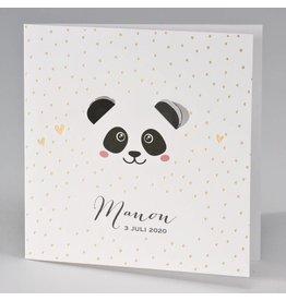 Buromac Pirouette Geboortekaart met panda met uitgekapte oortjes en goudconfetti