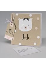 Buromac Pirouette Geboortekaart kraftkaart met beer en confetti wit/roze (507094)