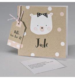 Buromac Pirouette Geboortekaart kraftpapier met beer en confetti wit/roze