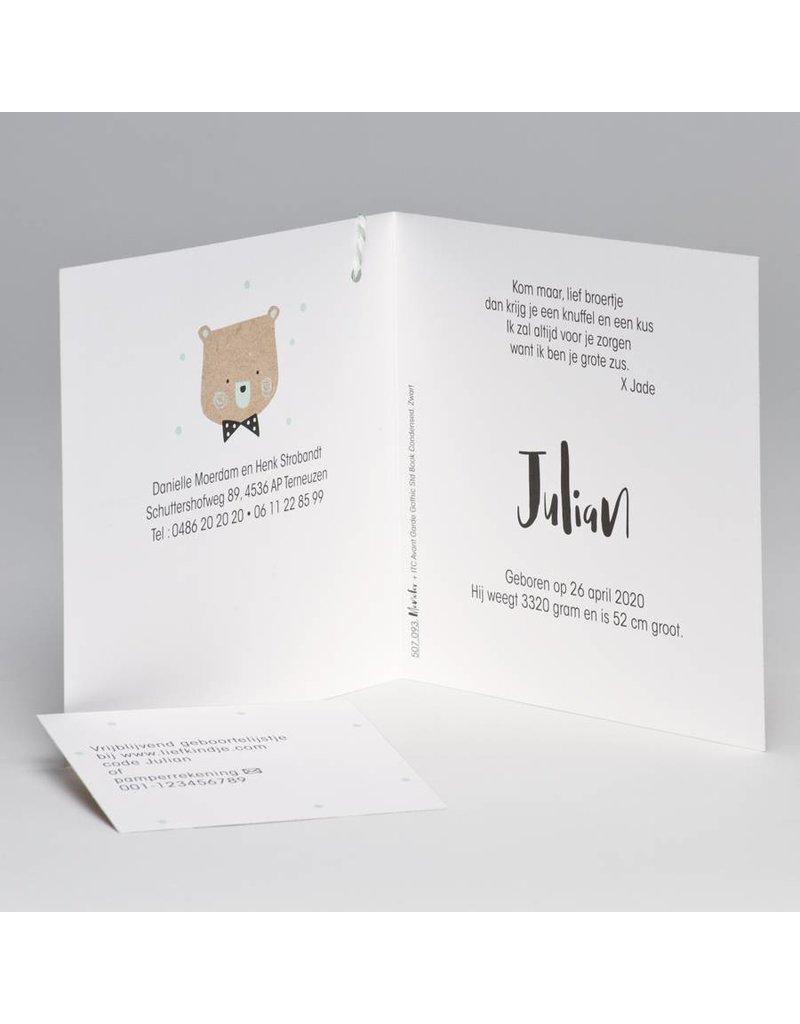 Buromac Pirouette Geboortekaart in kraftkleur met beer en confetti wit/mint (507093)