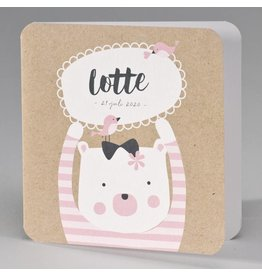 Buromac Pirouette Geboortekaart kraft geboortekaart beer met roze gestreepte trui