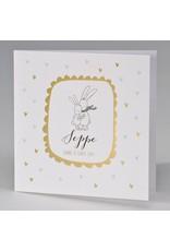 Buromac Pirouette Geboortekaart knuffelende konijntjes in lijstje van goudfolie (507073)