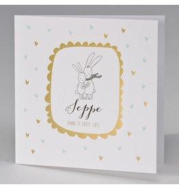 Buromac Pirouette Geboortekaart knuffelende konijntjes in lijstje van goudfolie
