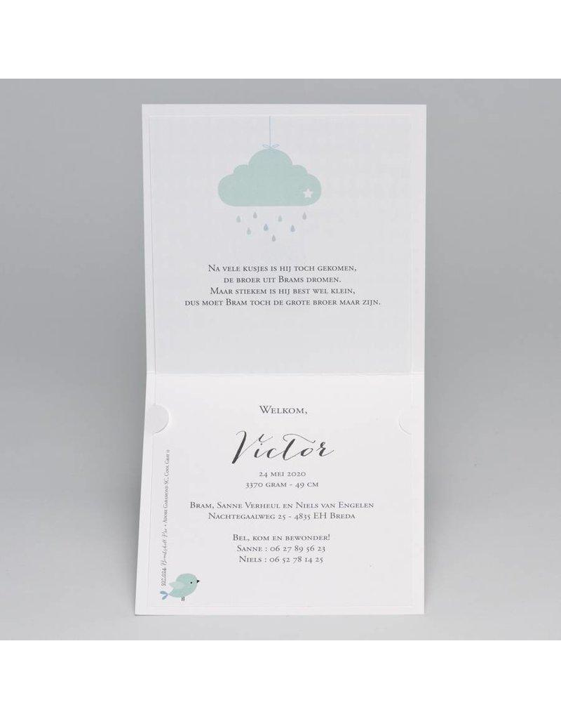 Buromac Pirouette Geboortekaart met mintgroene wolk (507024)