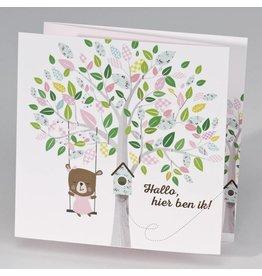 Buromac Pirouette Geboortekaart drieluik schommelende beer aan boom - meisje